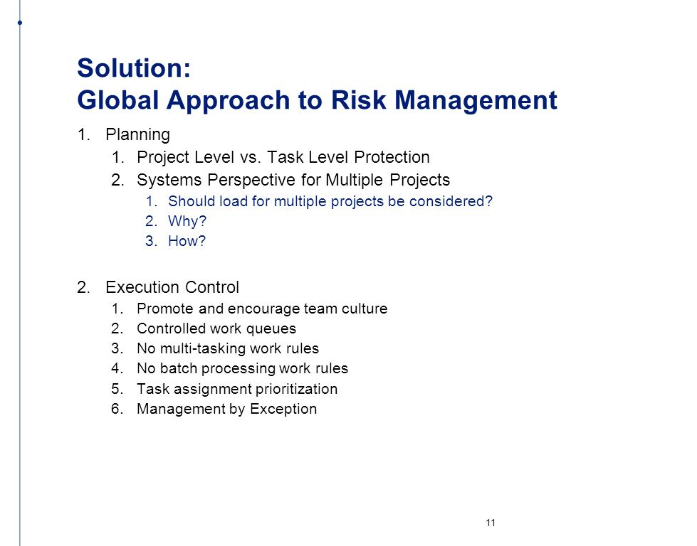 Solution: Global Approach to Risk Management