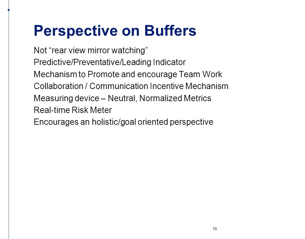 Perspective on Buffers