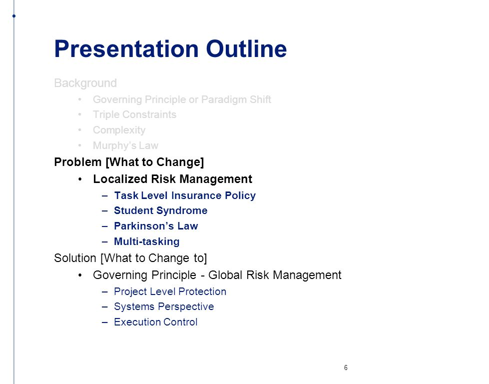 Presentation Outline Background Problem [What to Change]