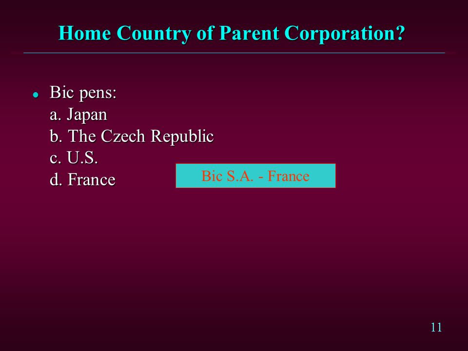 Home Country of Parent Corporation