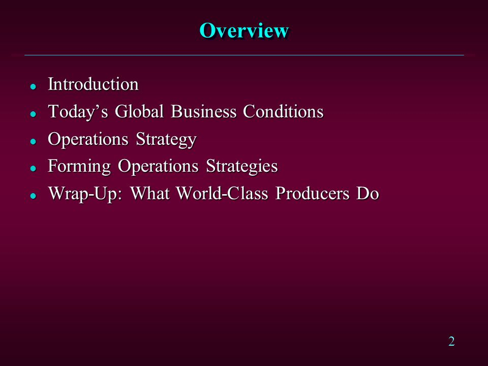 Overview Introduction Today's Global Business Conditions