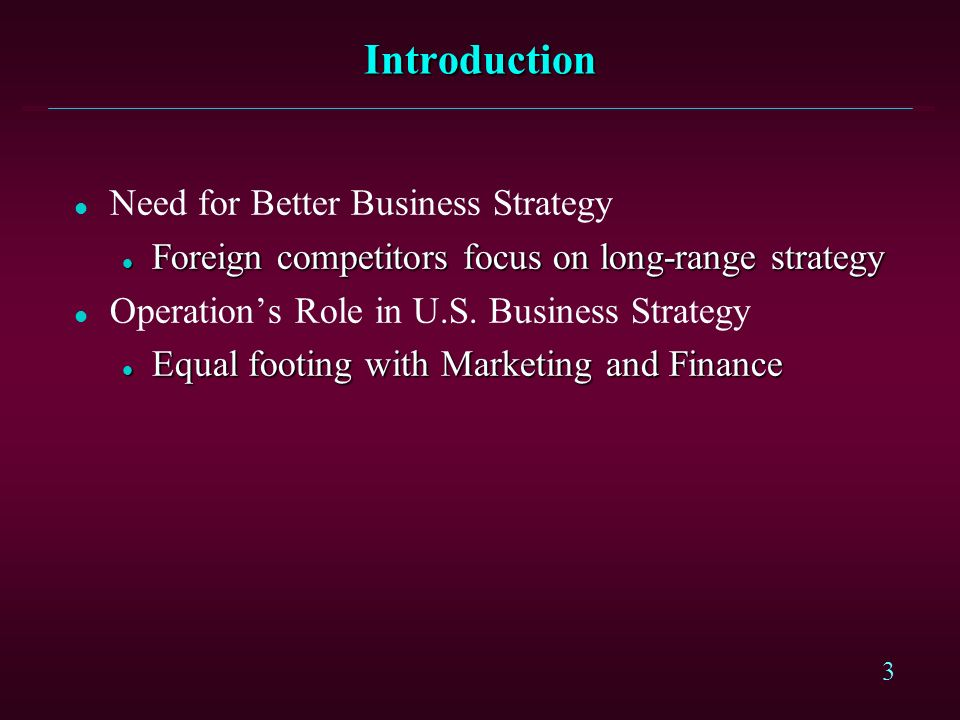 Introduction Need for Better Business Strategy