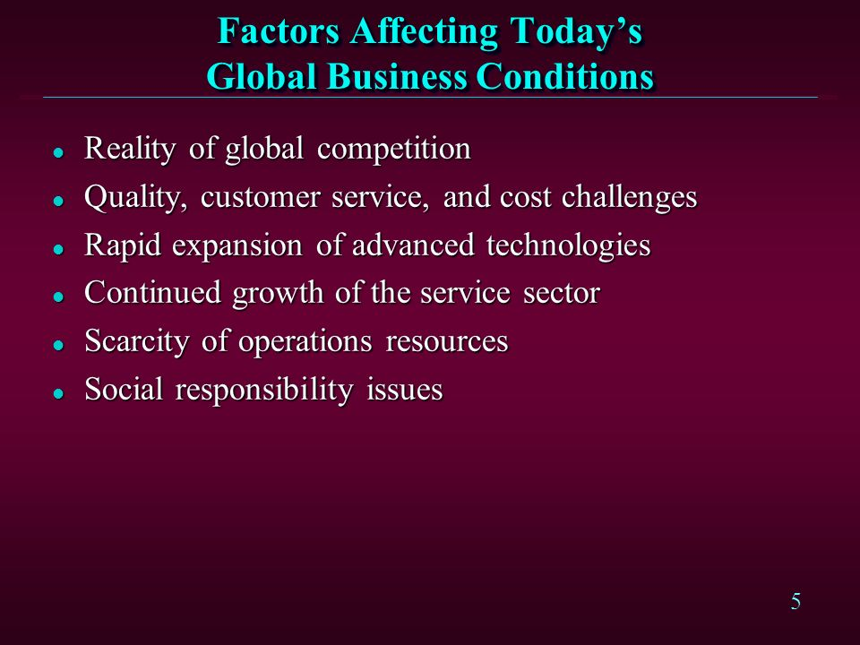 Factors Affecting Today's Global Business Conditions