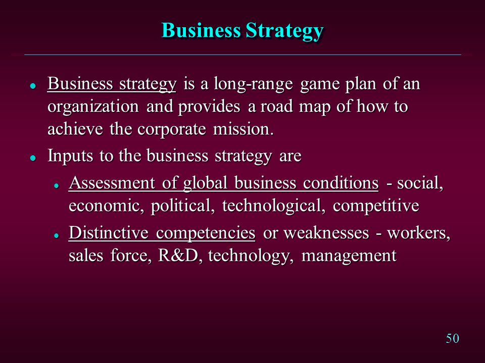 Business Strategy Business strategy is a long-range game plan of an organization and provides a road map of how to achieve the corporate mission.