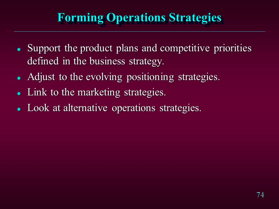 Forming Operations Strategies