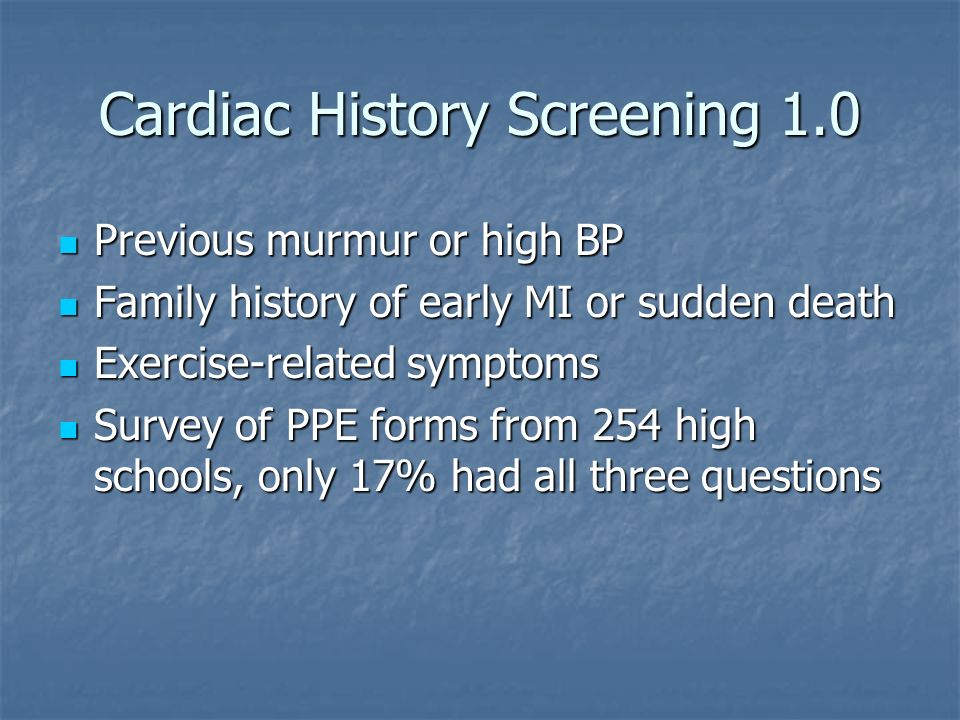 Cardiac History Screening 1.0