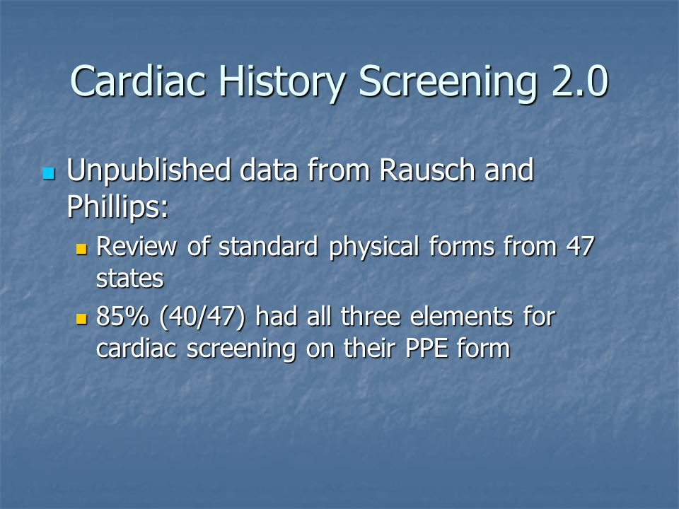 Cardiac History Screening 2.0