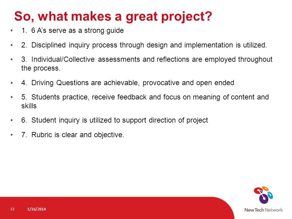 So, what makes a great project