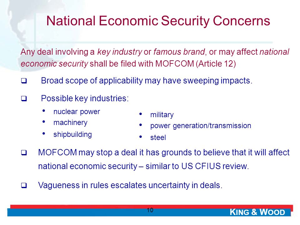 National Economic Security Concerns