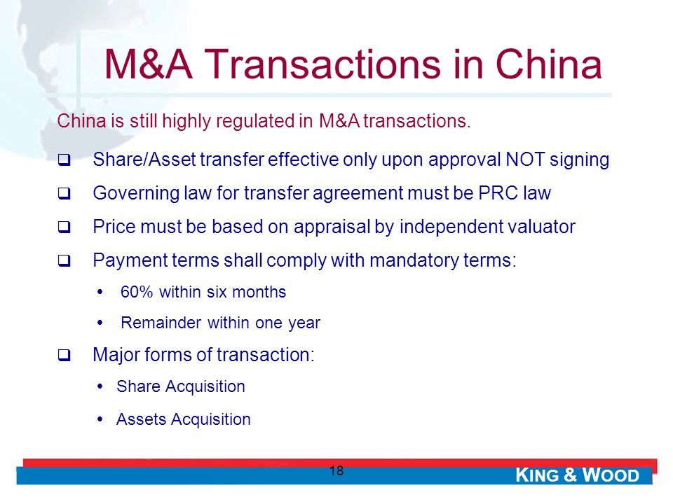 M&A Transactions in China