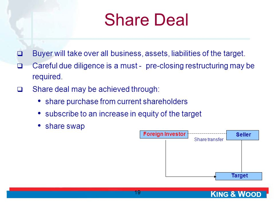 Share Deal Buyer will take over all business, assets, liabilities of the target.