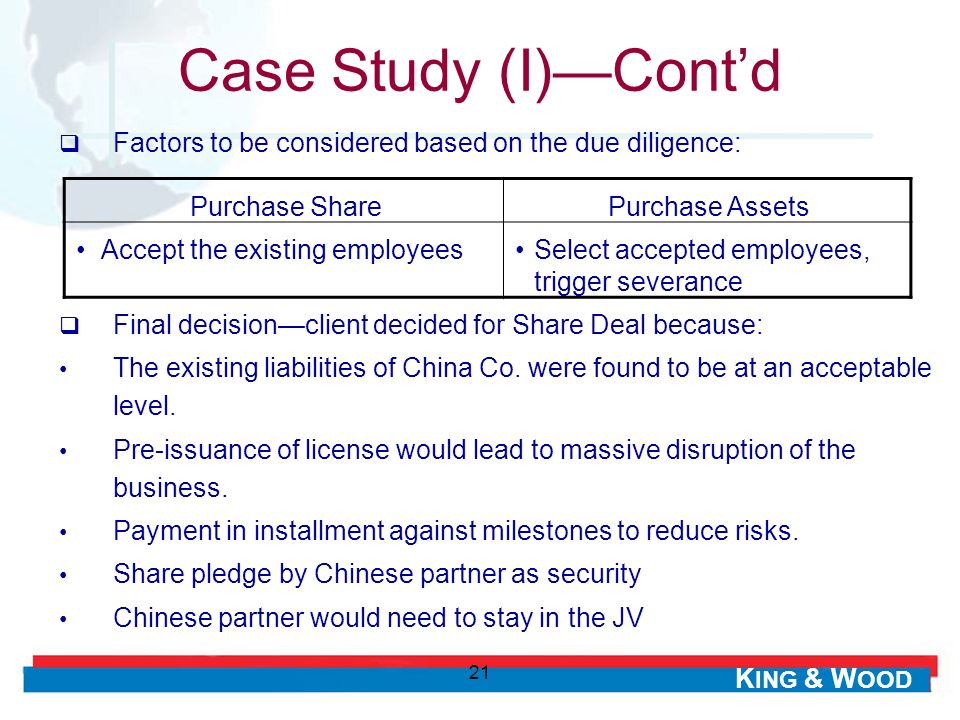 Case Study (I)—Cont'd Factors to be considered based on the due diligence: Purchase Share. Purchase Assets.