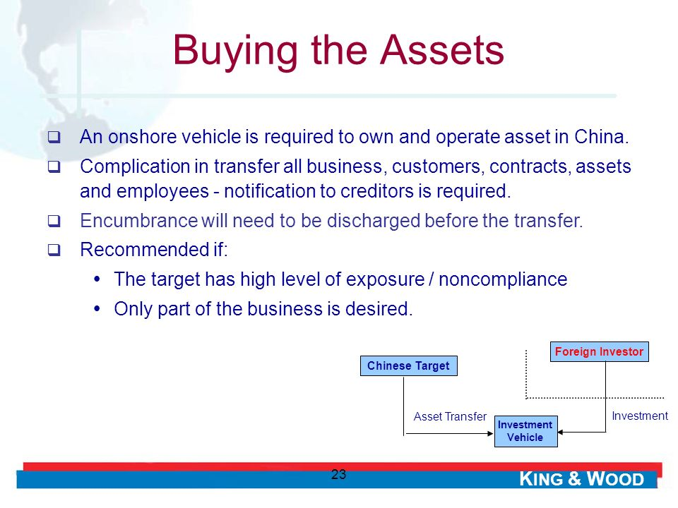 Buying the Assets An onshore vehicle is required to own and operate asset in China.