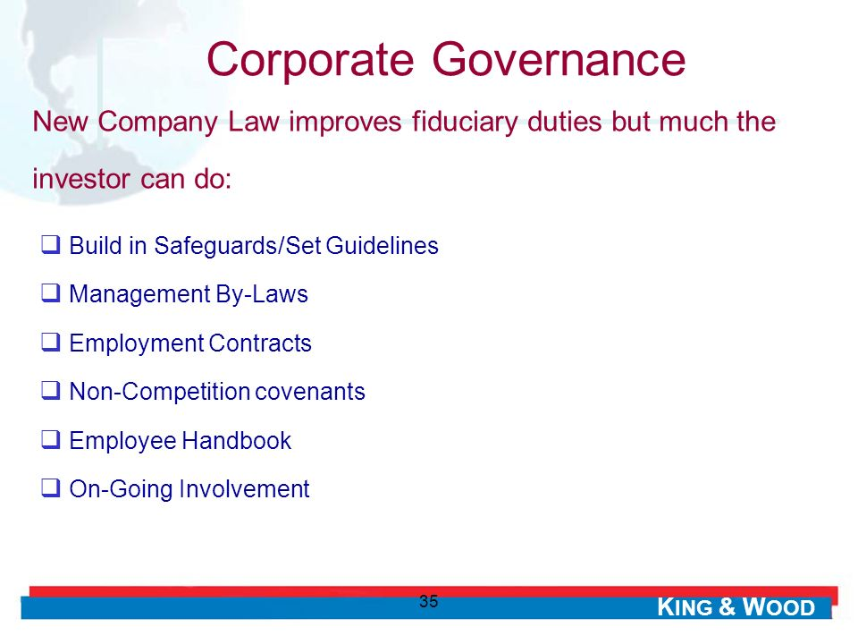 Corporate Governance New Company Law improves fiduciary duties but much the investor can do: Build in Safeguards/Set Guidelines.