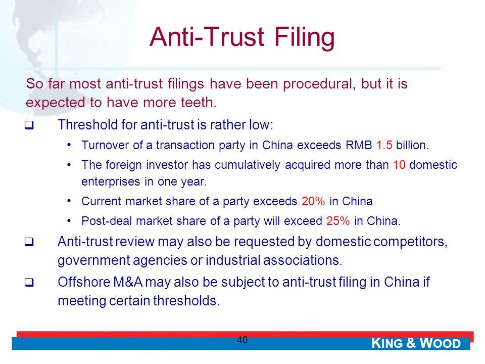 Anti-Trust Filing So far most anti-trust filings have been procedural, but it is expected to have more teeth.