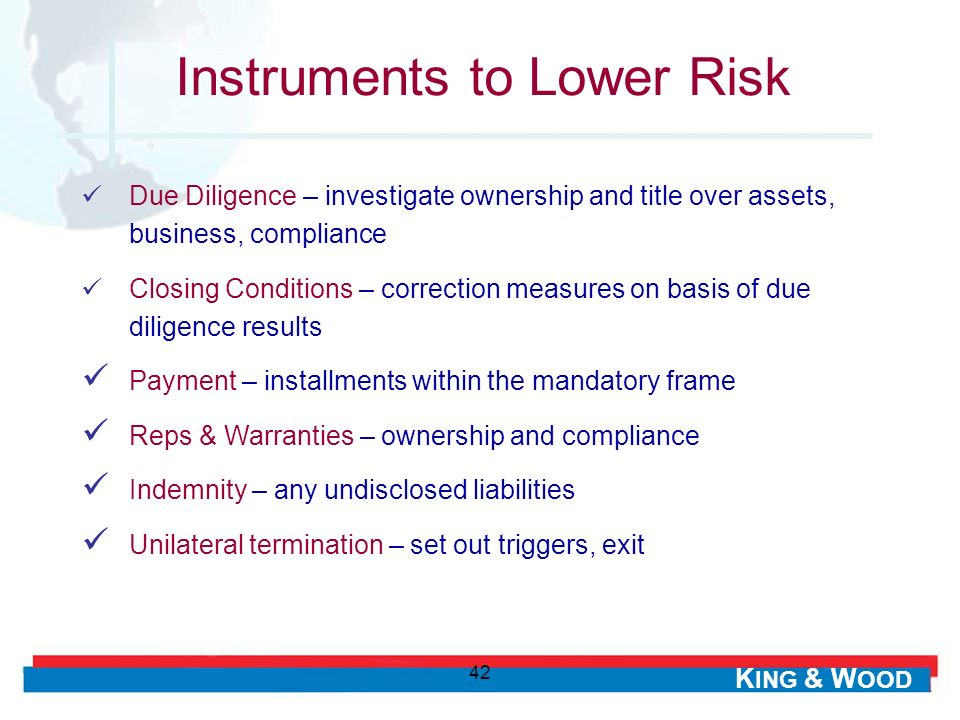 Instruments to Lower Risk