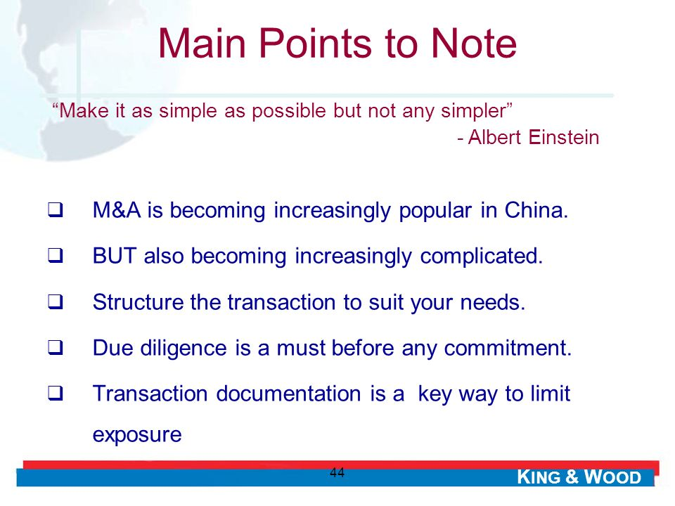 Main Points to Note M&A is becoming increasingly popular in China.