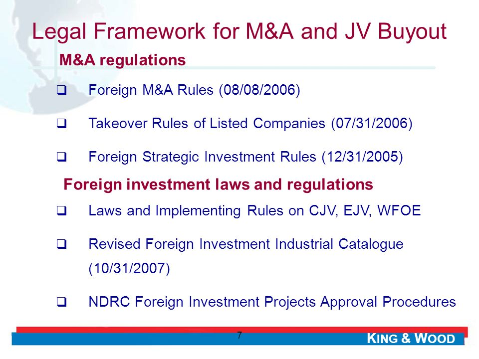 Legal Framework for M&A and JV Buyout