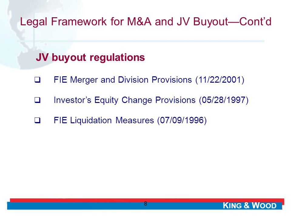 Legal Framework for M&A and JV Buyout—Cont'd