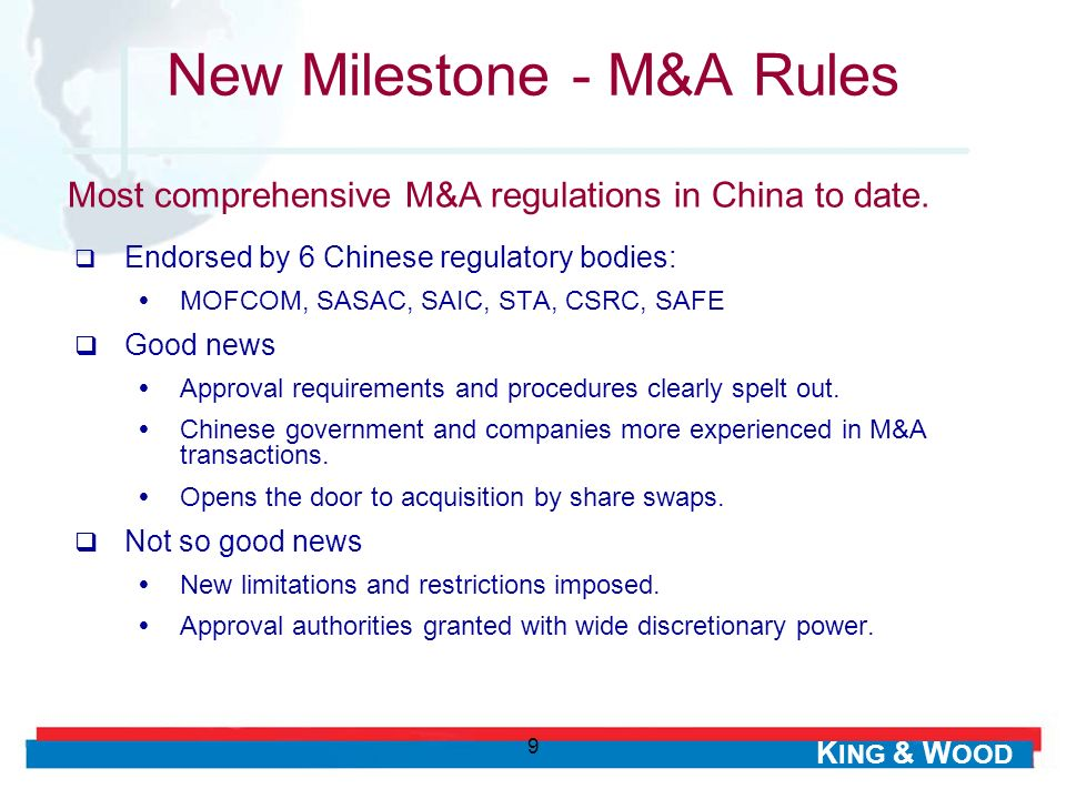 New Milestone - M&A Rules