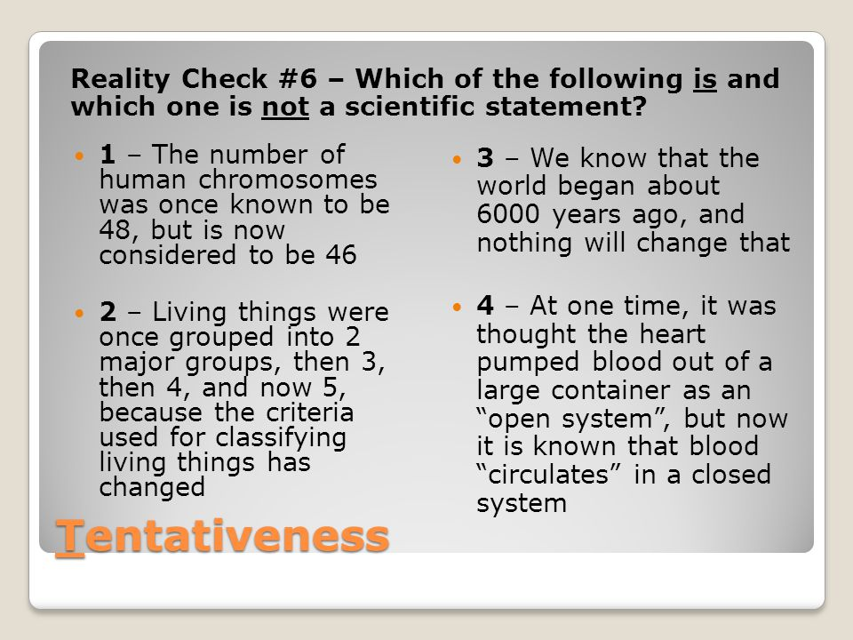 Reality Check #6 – Which of the following is and which one is not a scientific statement