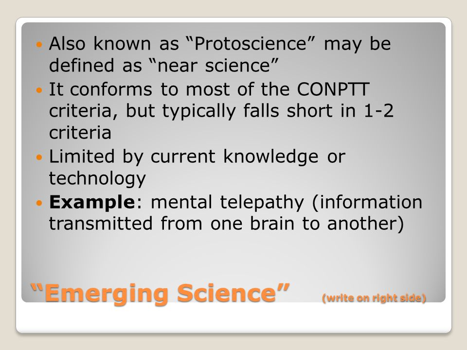 Emerging Science (write on right side)