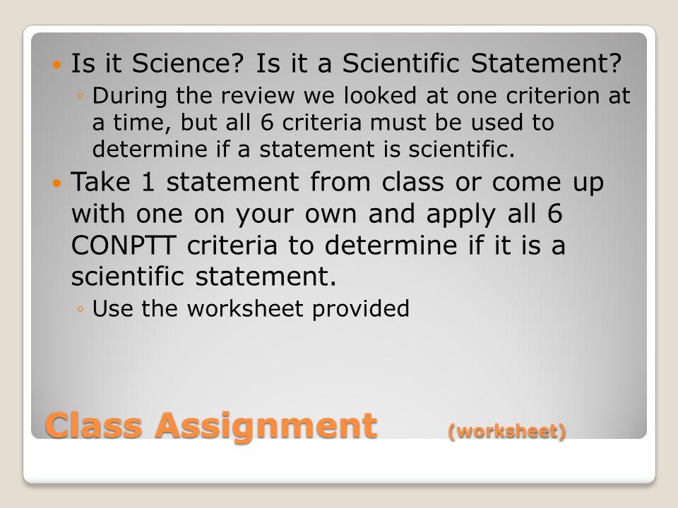Class Assignment (worksheet)