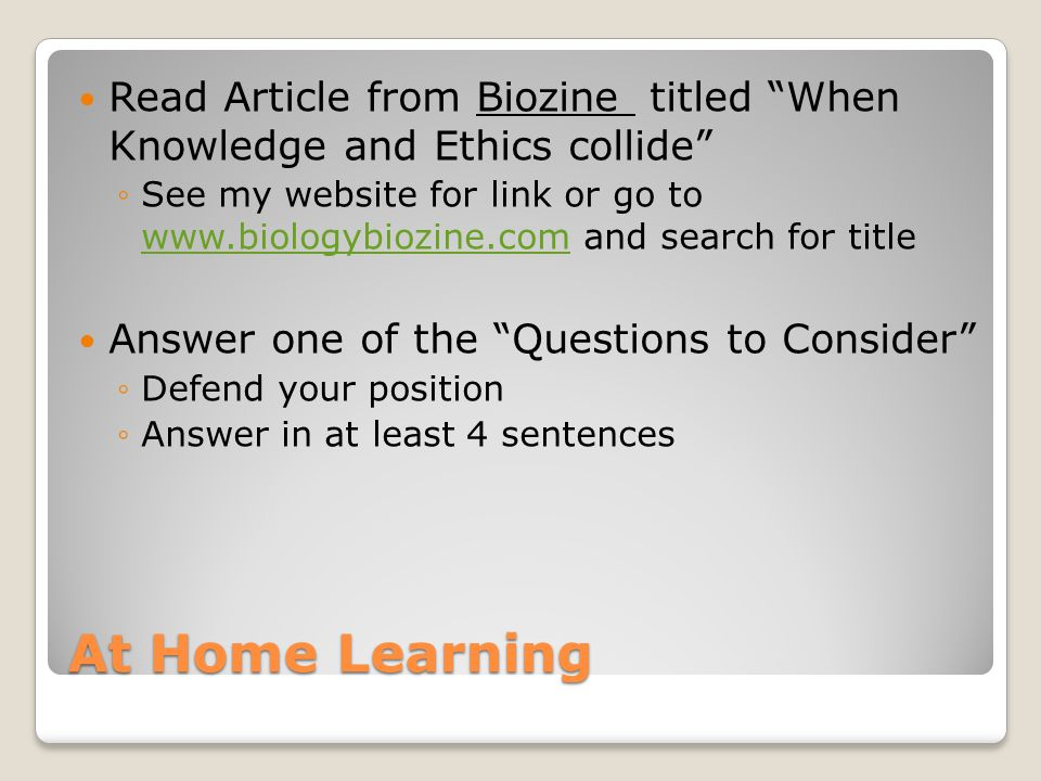 Read Article from Biozine titled When Knowledge and Ethics collide