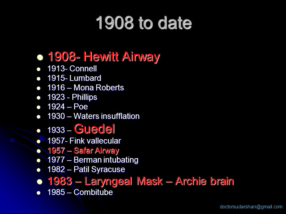 1908 to date Hewitt Airway 1983 – Laryngeal Mask – Archie brain