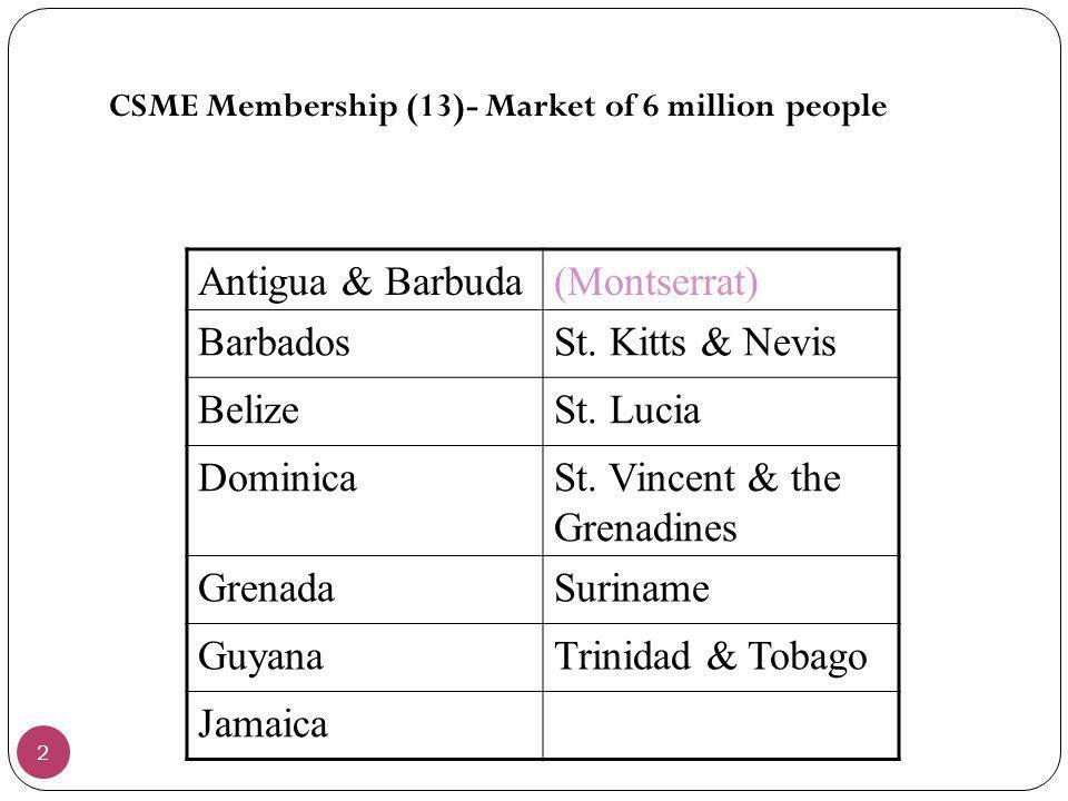 St. Vincent & the Grenadines Grenada Suriname Guyana Trinidad & Tobago