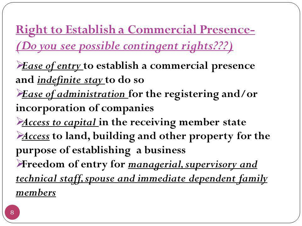 Right to Establish a Commercial Presence-