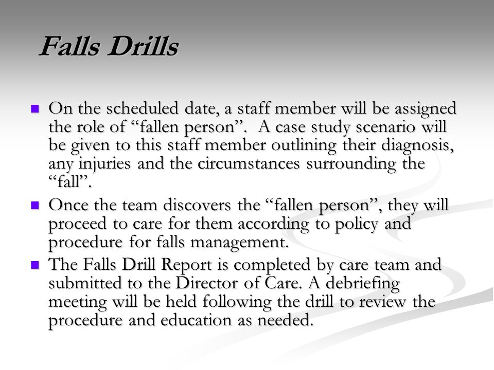 Falls Drills