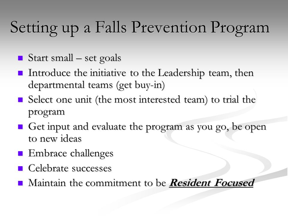 Setting up a Falls Prevention Program