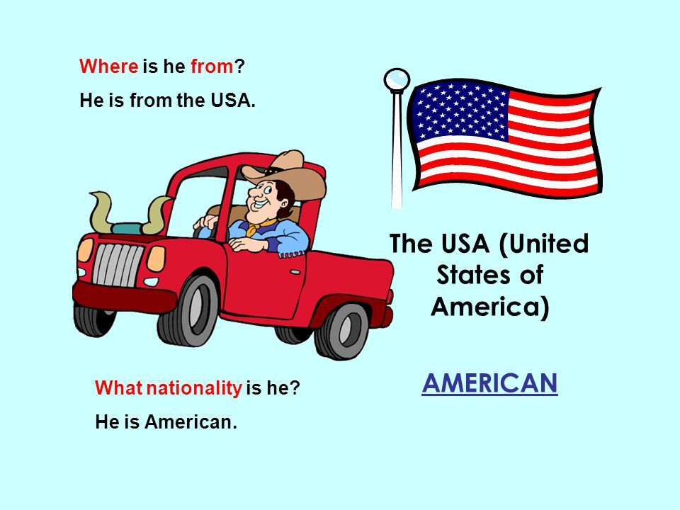 The USA (United States of America) AMERICAN
