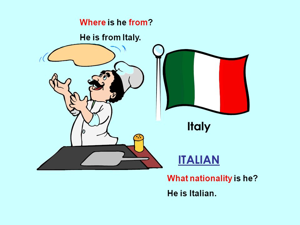 Italy ITALIAN Where is he from He is from Italy.