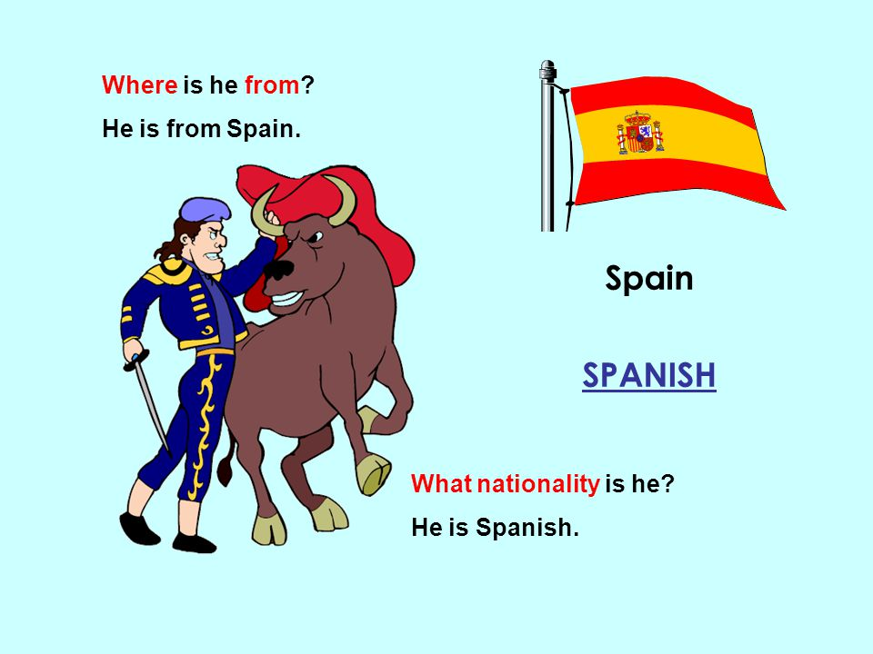 Spain SPANISH Where is he from He is from Spain.