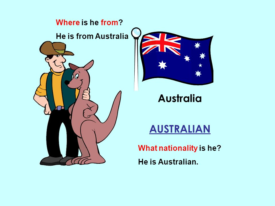 Australia AUSTRALIAN Where is he from He is from Australia
