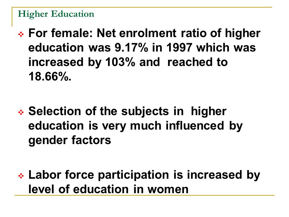 Labor force participation is increased by level of education in women