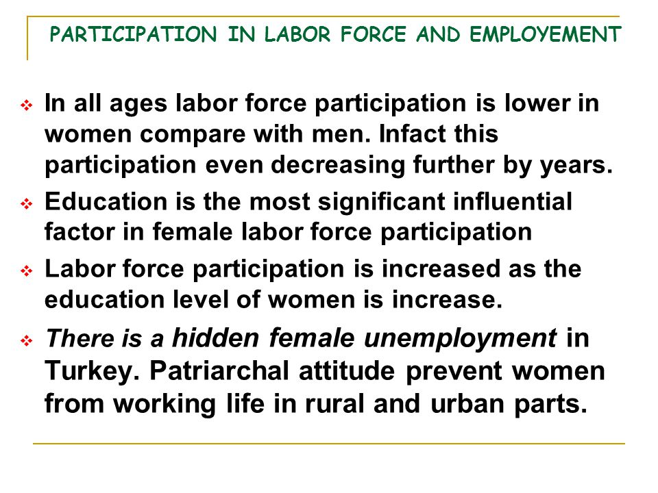 PARTICIPATION IN LABOR FORCE AND EMPLOYEMENT