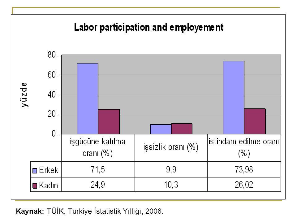 Kaynak: TÜİK, Türkiye İstatistik Yıllığı, 2006.