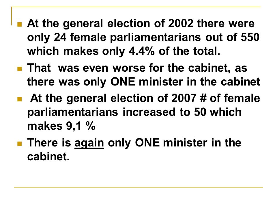 At the general election of 2002 there were only 24 female parliamentarians out of 550 which makes only 4.4% of the total.