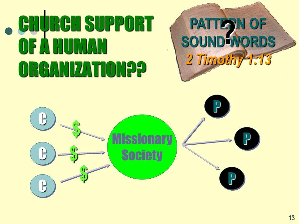 CHURCH SUPPORT OF A HUMAN ORGANIZATION
