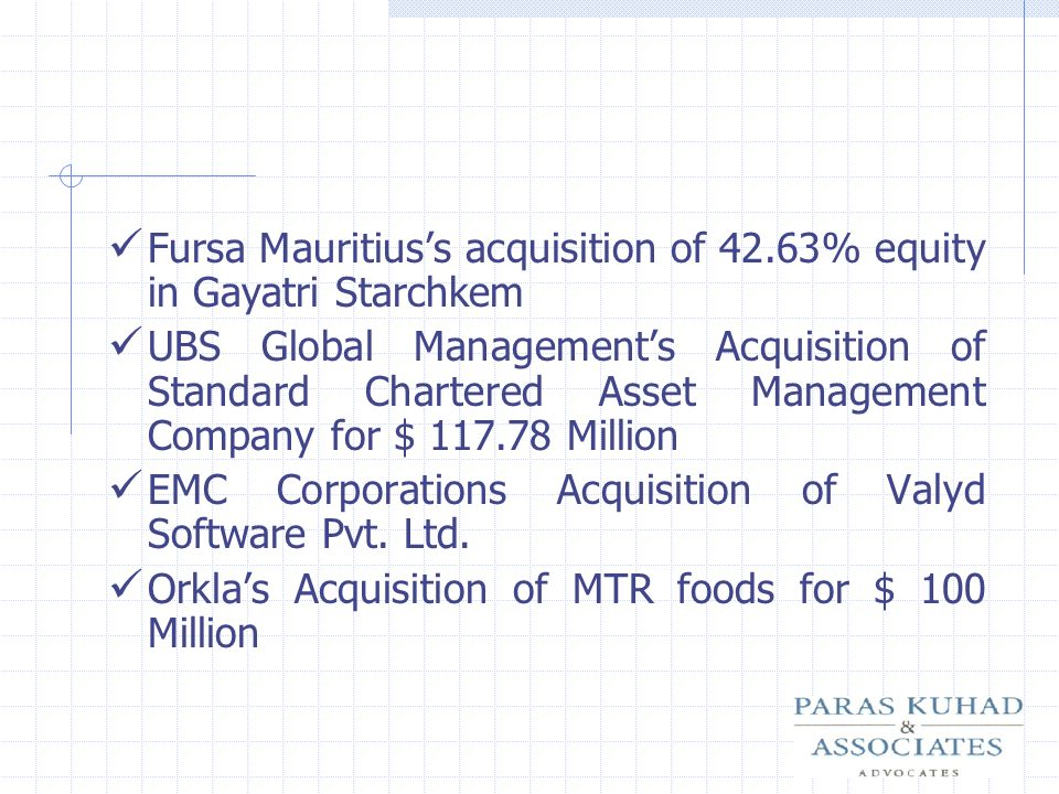 Fursa Mauritius's acquisition of 42.63% equity in Gayatri Starchkem