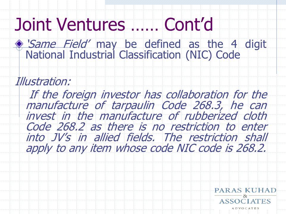 Joint Ventures …… Cont'd