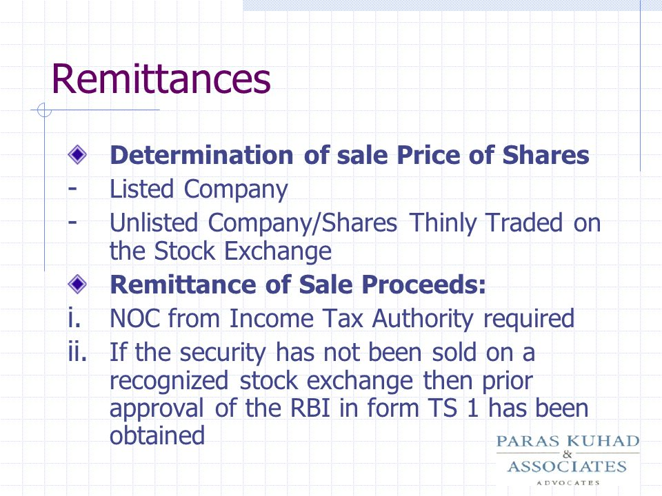 Remittances Determination of sale Price of Shares Listed Company