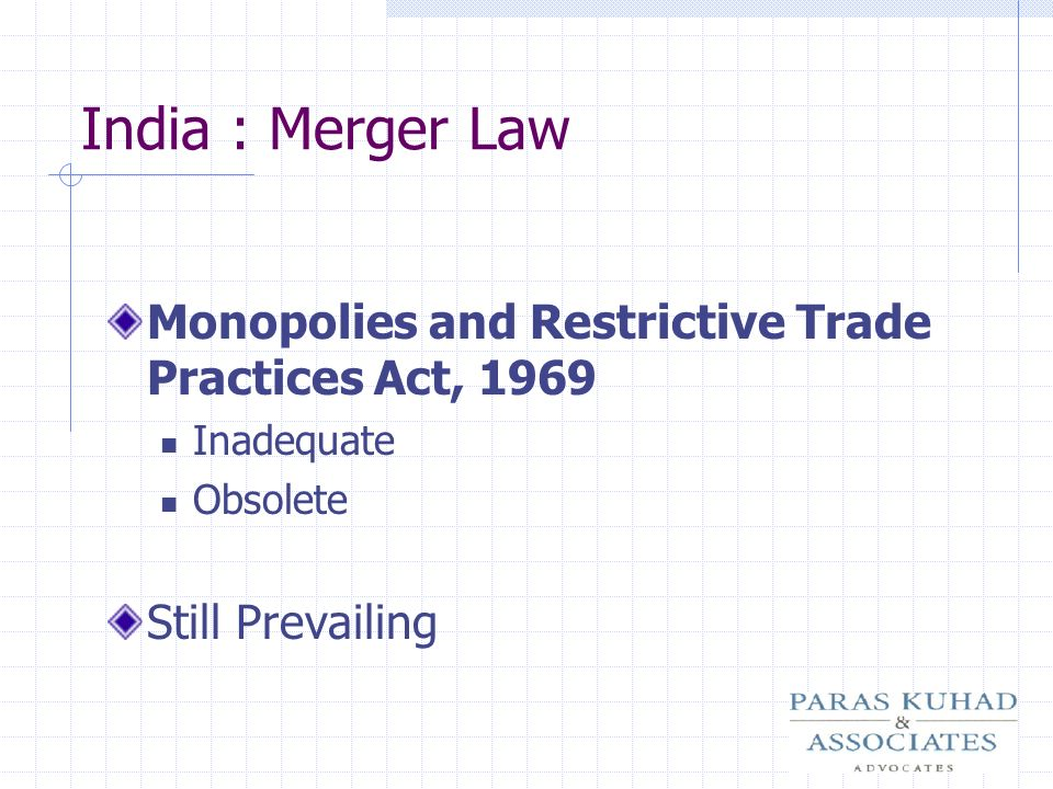 India : Merger Law Monopolies and Restrictive Trade Practices Act, 1969.