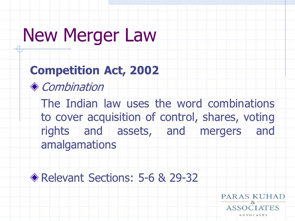 New Merger Law Competition Act, 2002 Combination
