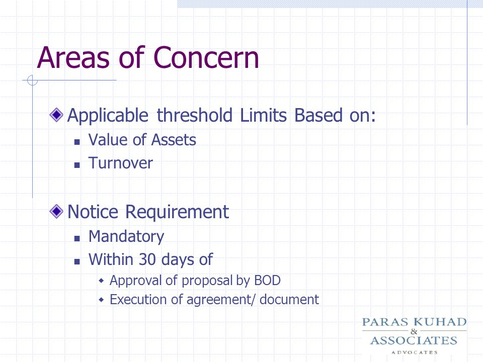 Areas of Concern Applicable threshold Limits Based on: