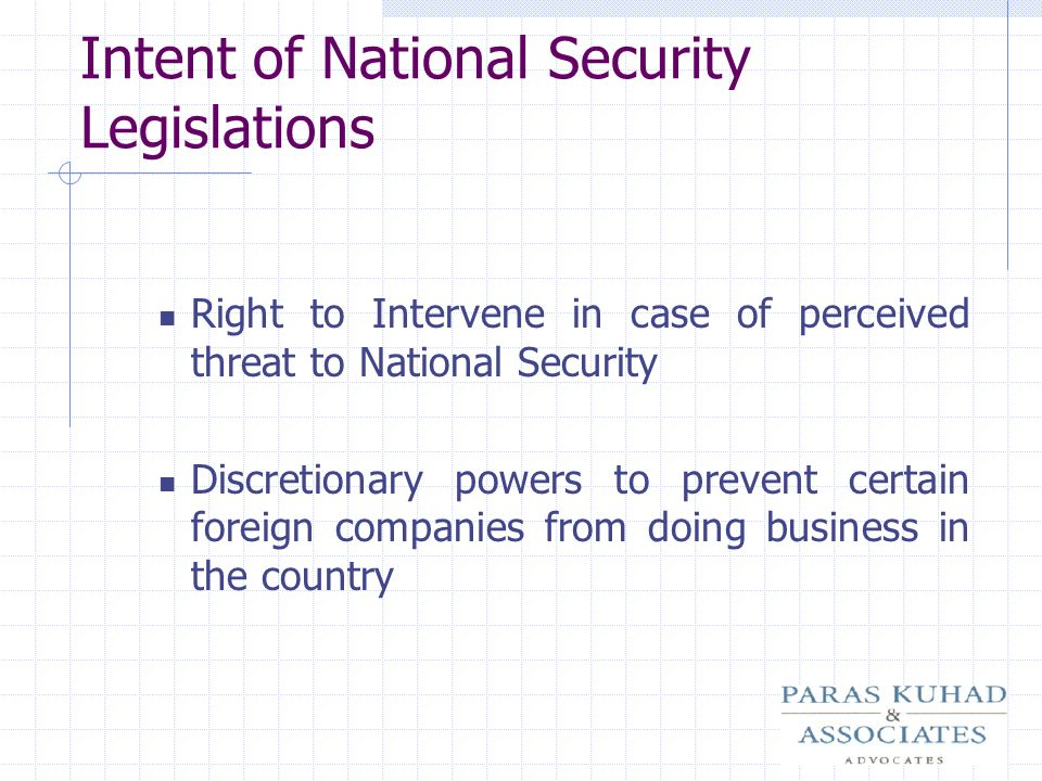 Intent of National Security Legislations