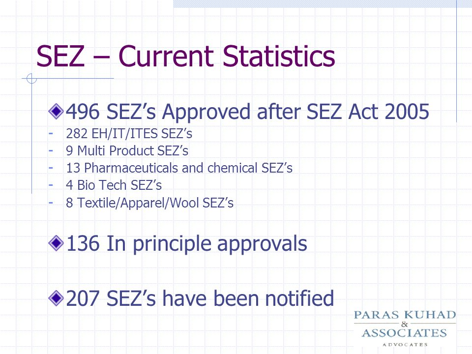 SEZ – Current Statistics
